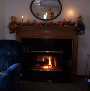 A cozy fire just waiting for friends to stop by and catch up on the week's happenings....
